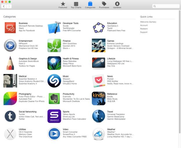 apple store categories