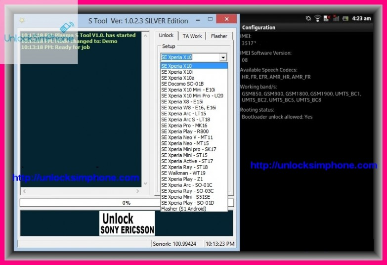 sony ericsson phone unlocking software free download
