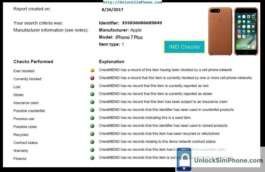 Universal mobile phone IMEI check service